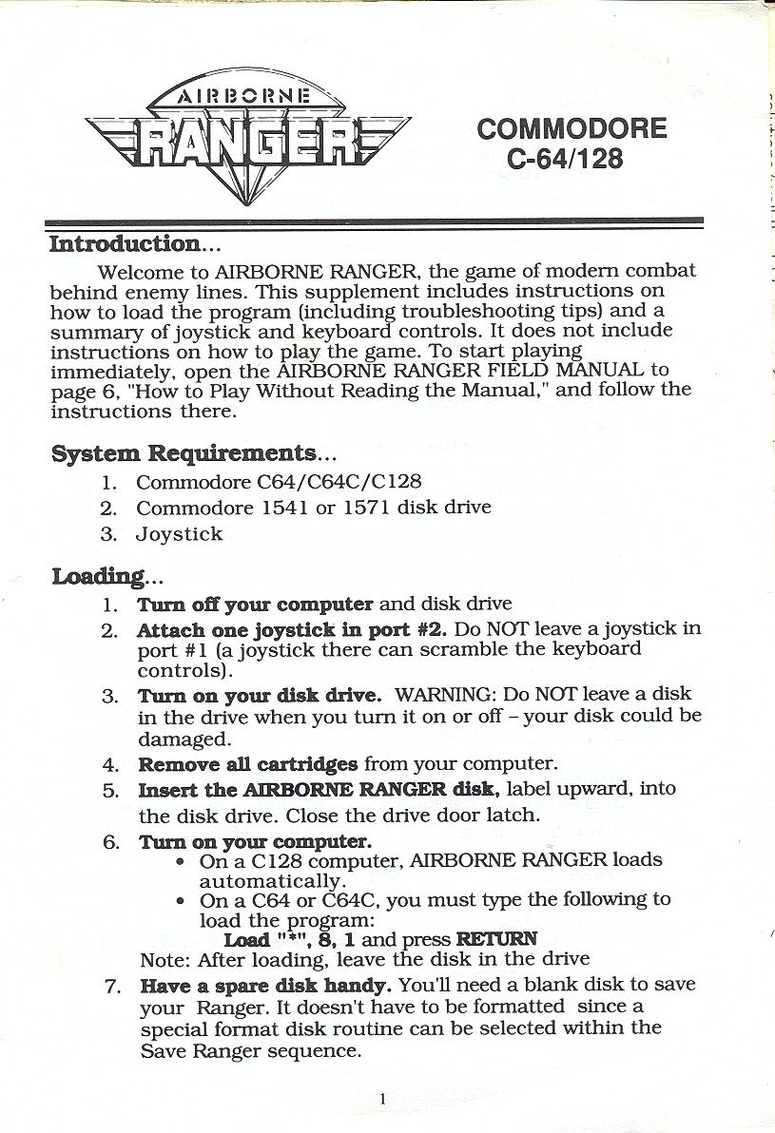 Airborne Ranger quick start guide page 1