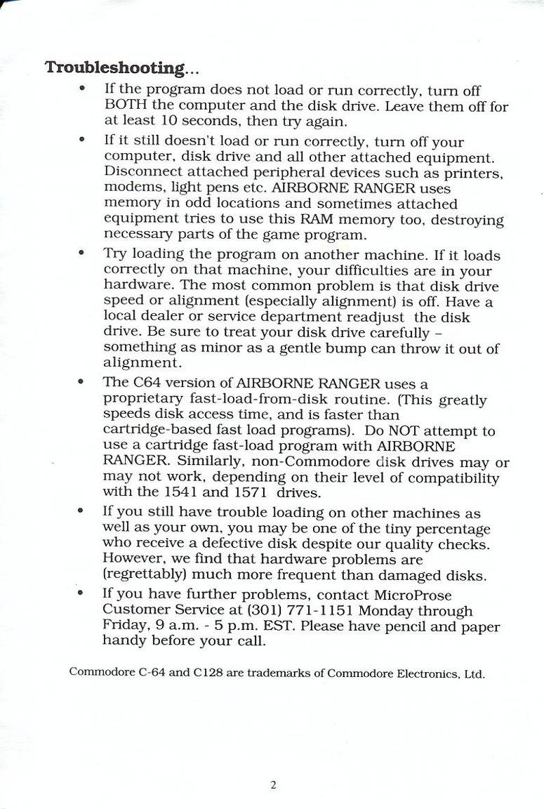 Airborne Ranger quick start guide page 2