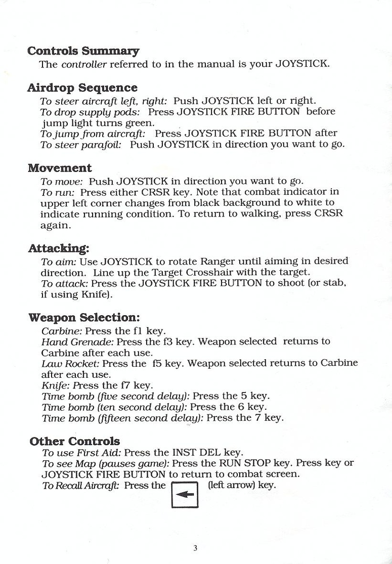 Airborne Ranger quick start guide page 3