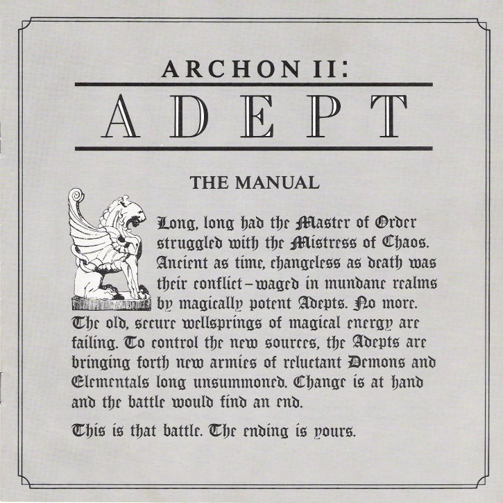Archon II Manual Cover
