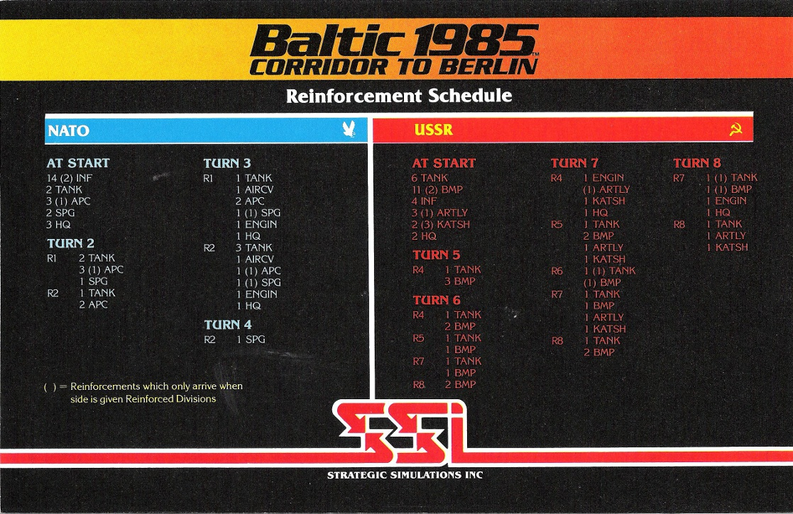 Baltic 1985: Corridor To Berlin reinforcement schedule