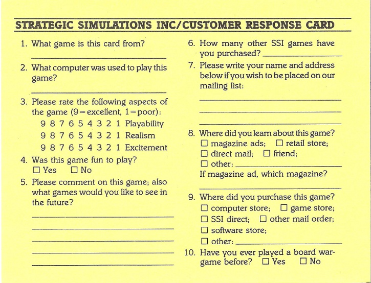 Baltic 1985: Corridor To Berlin response card back