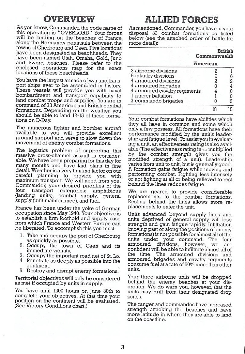Battle for Normandy manual page 3