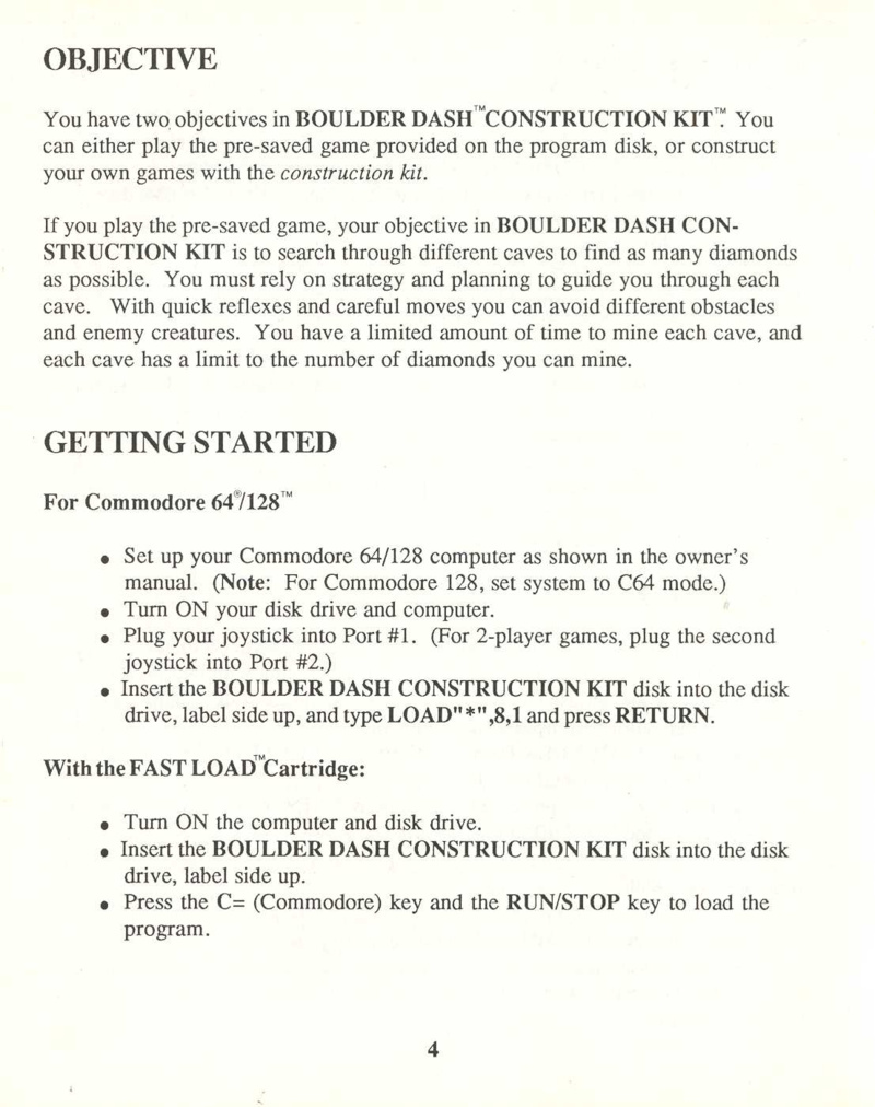 Boulder Dash Construction Kit manual page 4