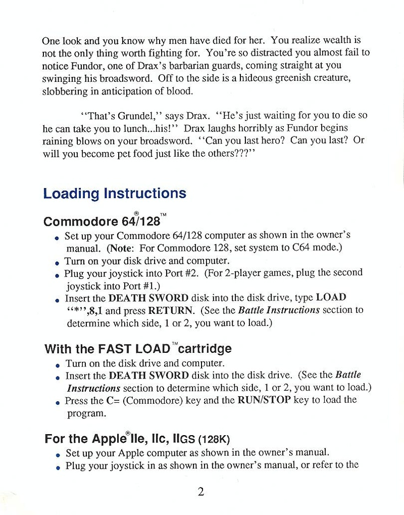 Death Sword manual page 2