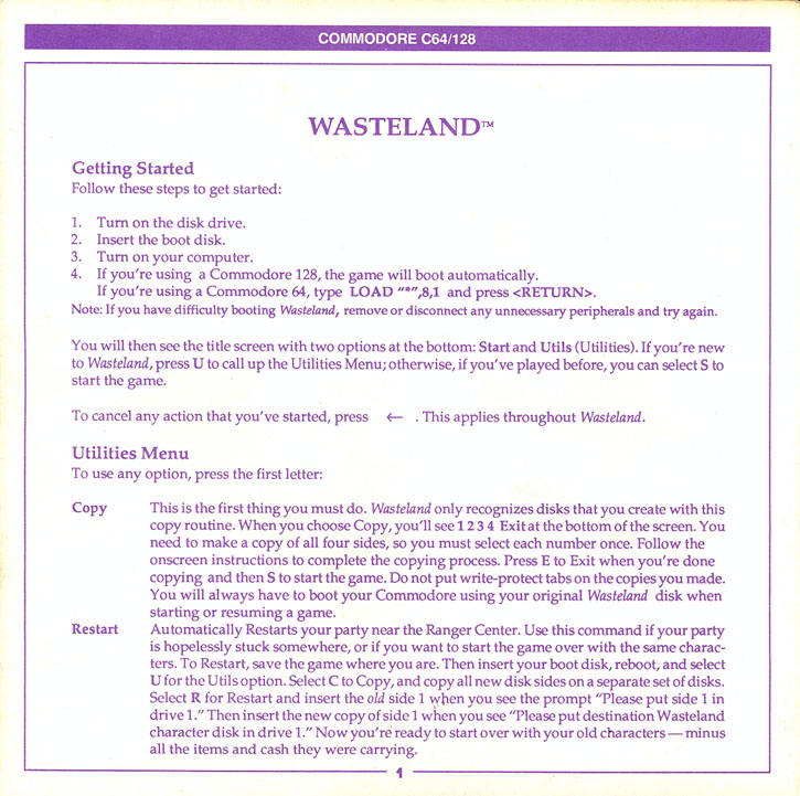 Wasteland Getting started guide page 1