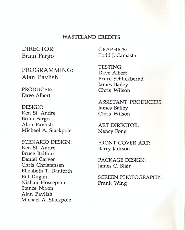 Wasteland manual page i