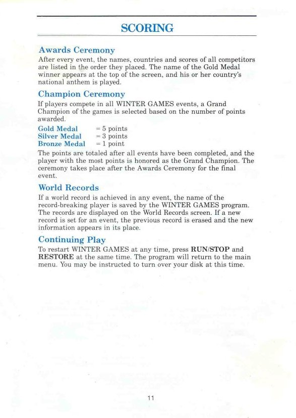 Winter Games Manual Page 11