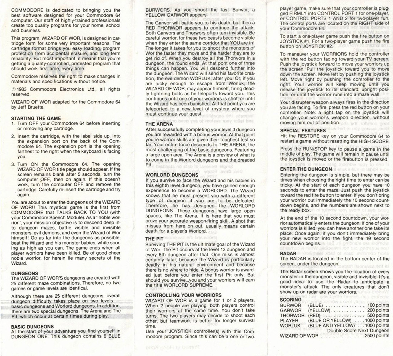 Wizard of Wor manual back